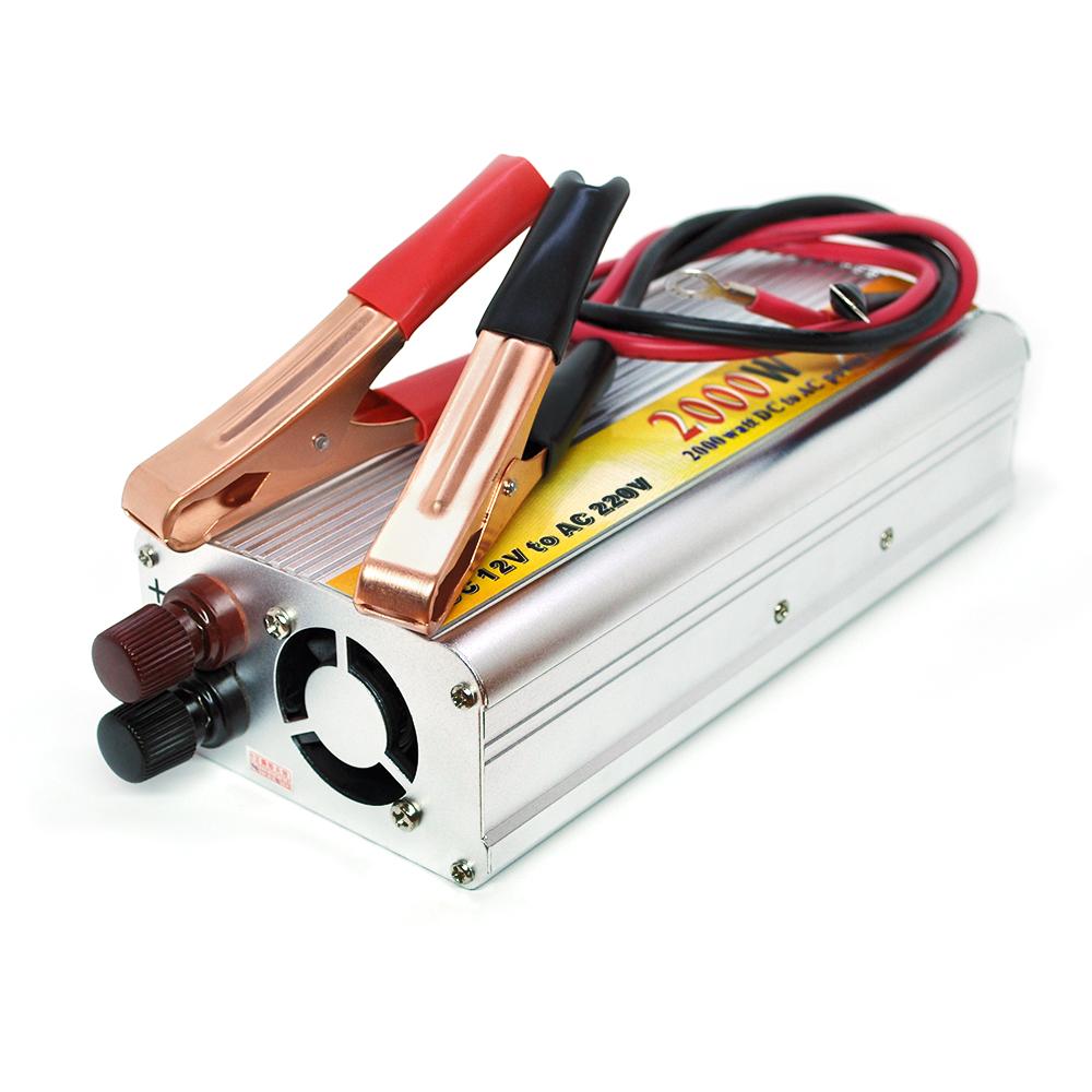 Купить Инвертор напряжения N/N 2000, 2000Вт, 12/220 с аппроксимированной синусоидой, 1 универсальная розетка, клемные провода + дисплей