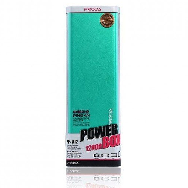 Купить Powerbank (Polymer Battery) Proda Vanguard RP-V12, 1xUSB, 5V, 1.5A, 12000mAh, Green, Blister