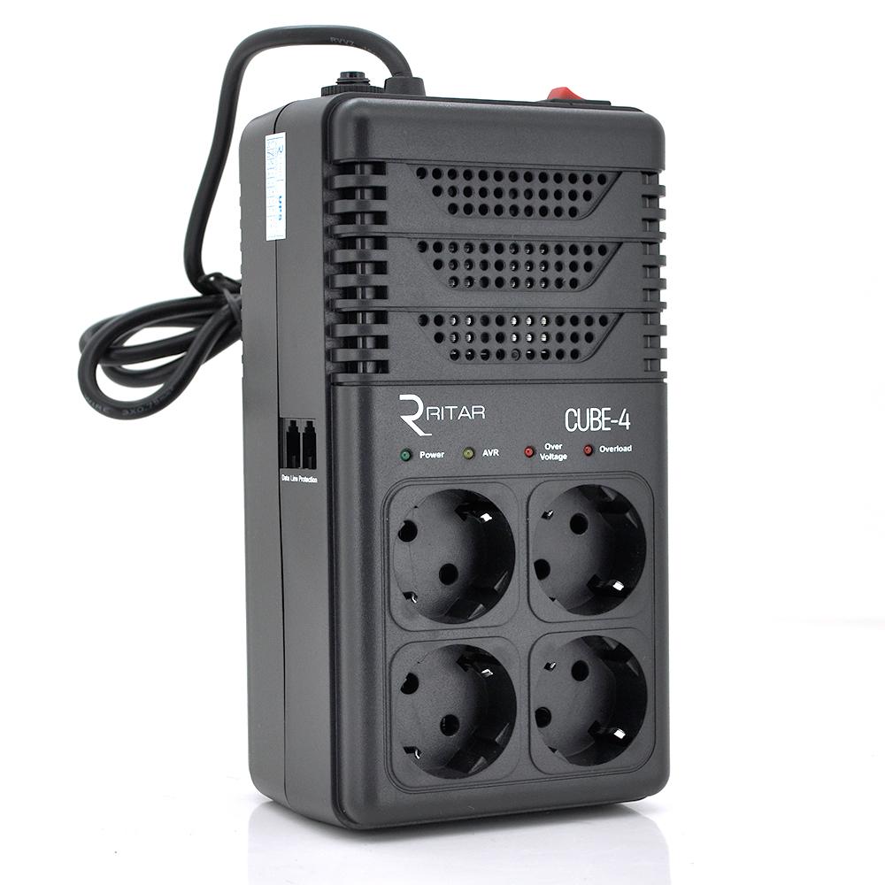 Купить Стабилизатор напряжения релейный RITAR CUBE-4 800VA 480W 4SHUKO