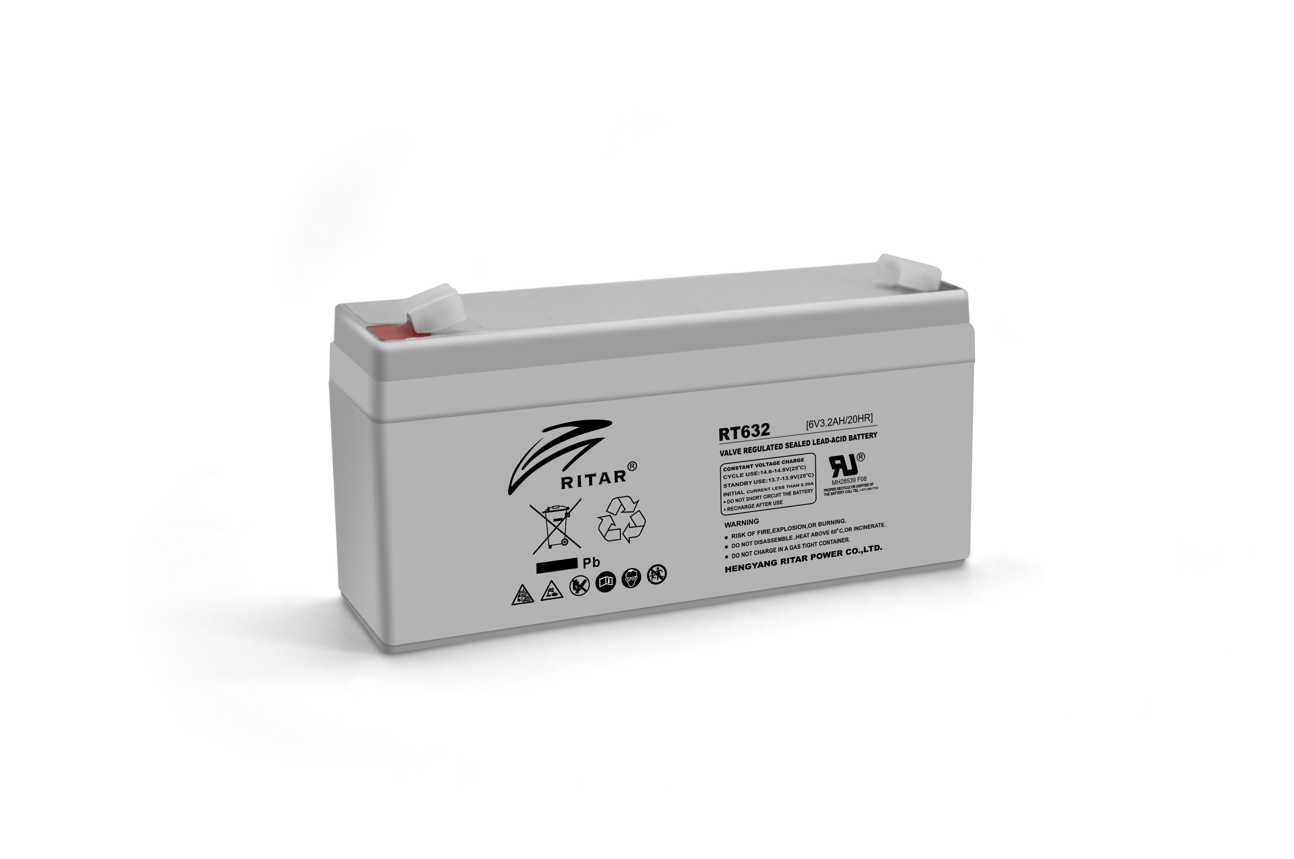 Купить Аккумуляторная батарея AGM RITAR RT632, Gray Case, 6V 3.2Ah  ( 134х35х60 (66) ) Q20