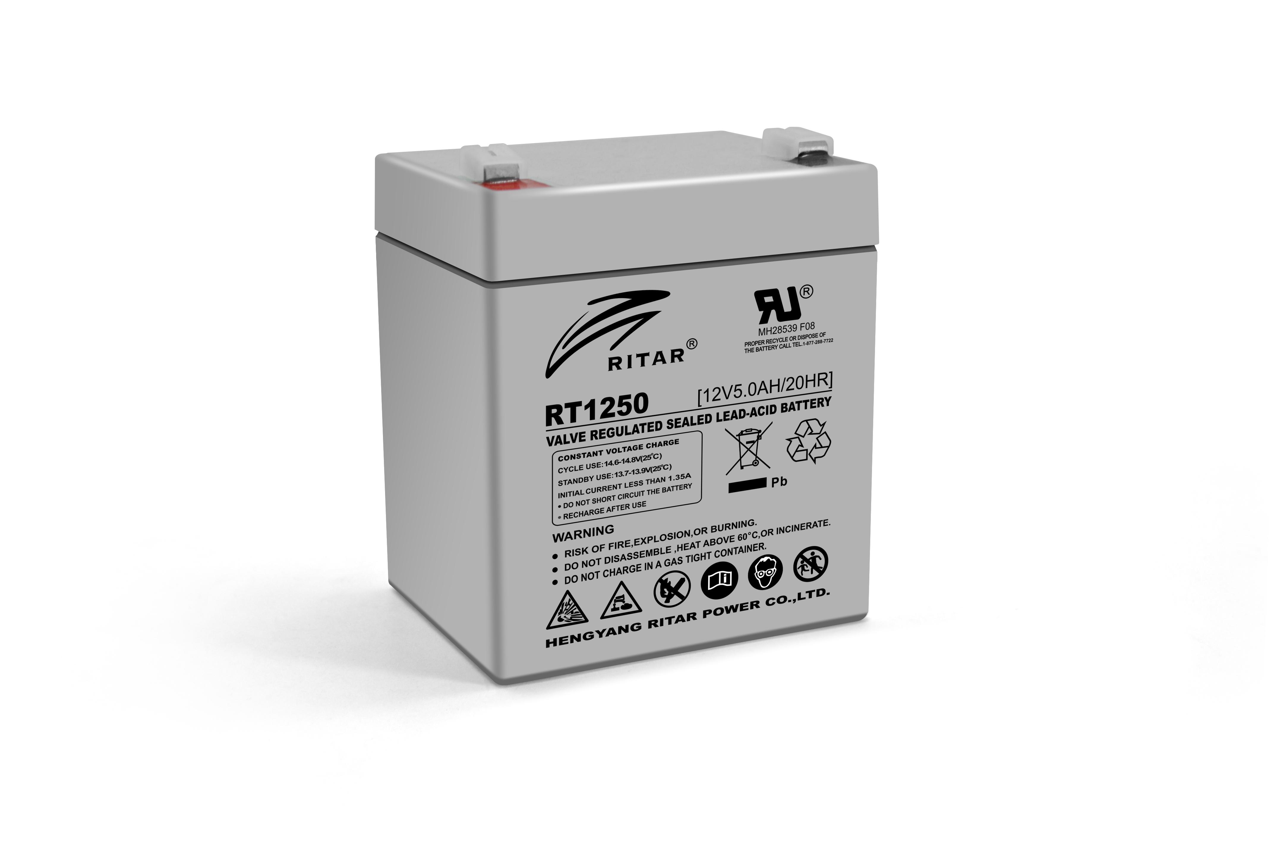 Купить Аккумуляторная батарея AGM RITAR RT1250, Gray Case, 12V 5.0Ah  ( 90 х70 х 101 (107) ) Q10