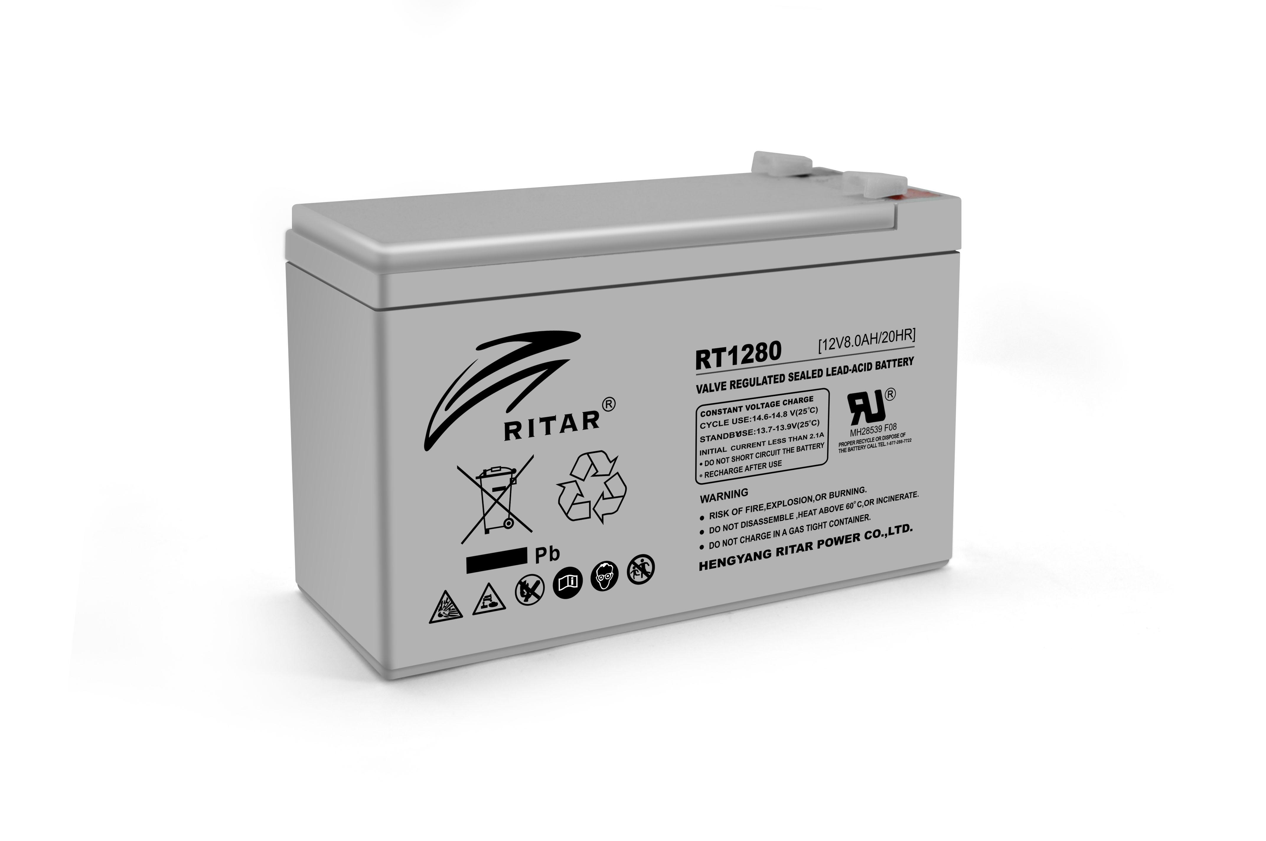 Купить Аккумуляторная батарея AGM RITAR RT1280, Gray Case, 12V 8.0Ah  ( 151 х 65 х 94 (100) ) Q10