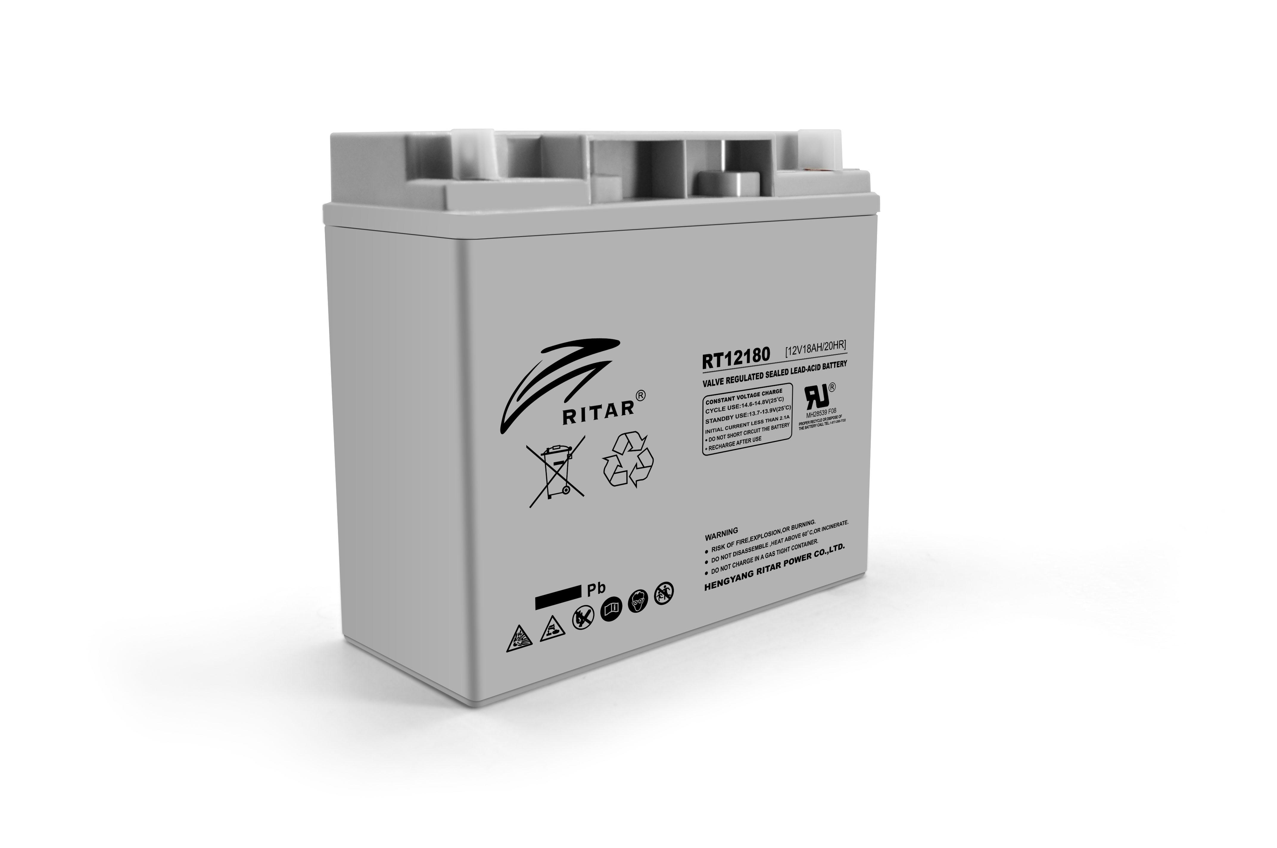 Купить Аккумуляторная батарея AGM RITAR RT12180, Gray Case, 12V 18.0Ah   ( 181 х 77 х 167 ) Q2