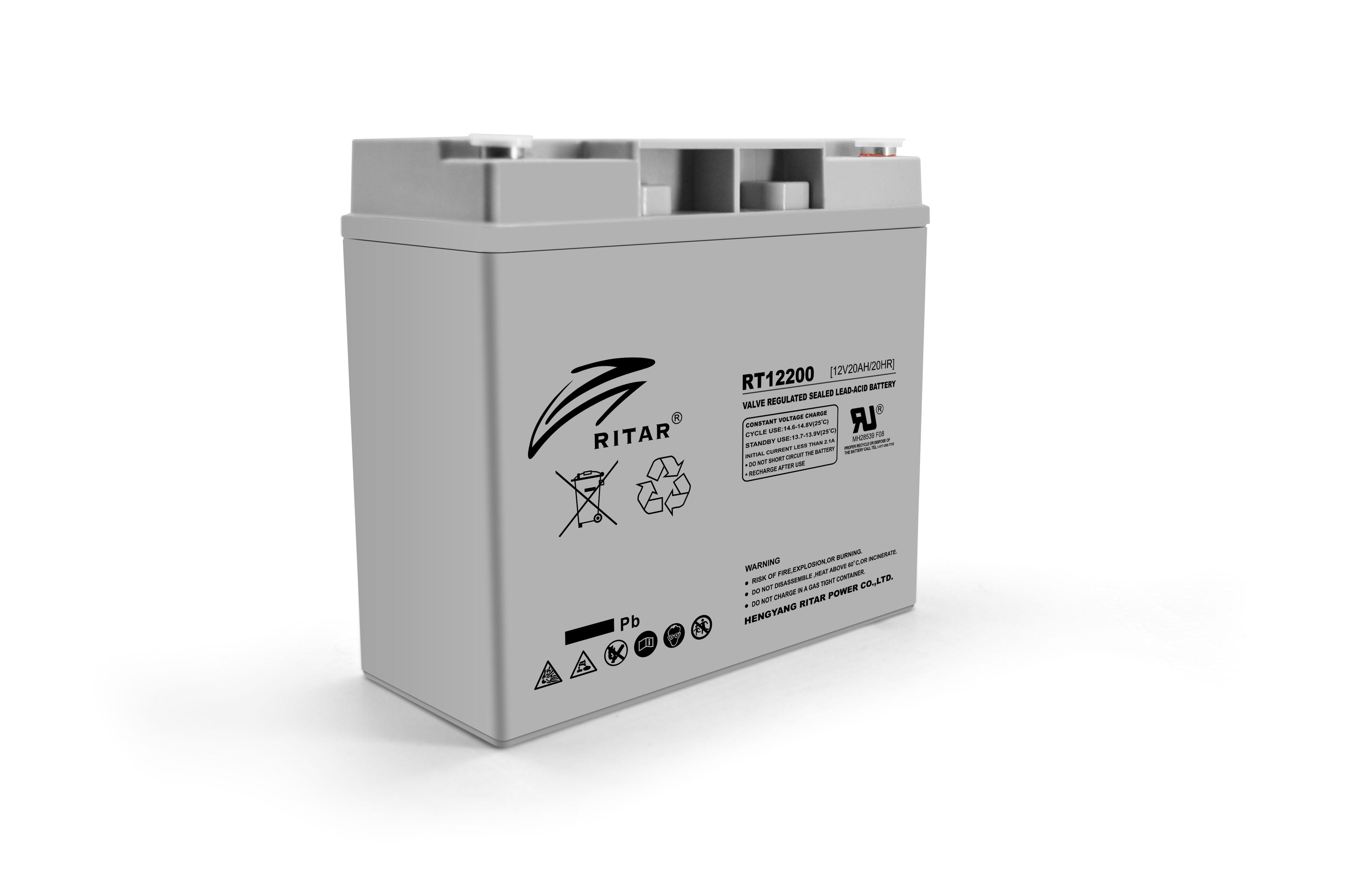 Купить Аккумуляторная батарея AGM RITAR RT12200, Gray Case, 12V 20.0Ah  ( 181 х 77 х 167 ) Q2
