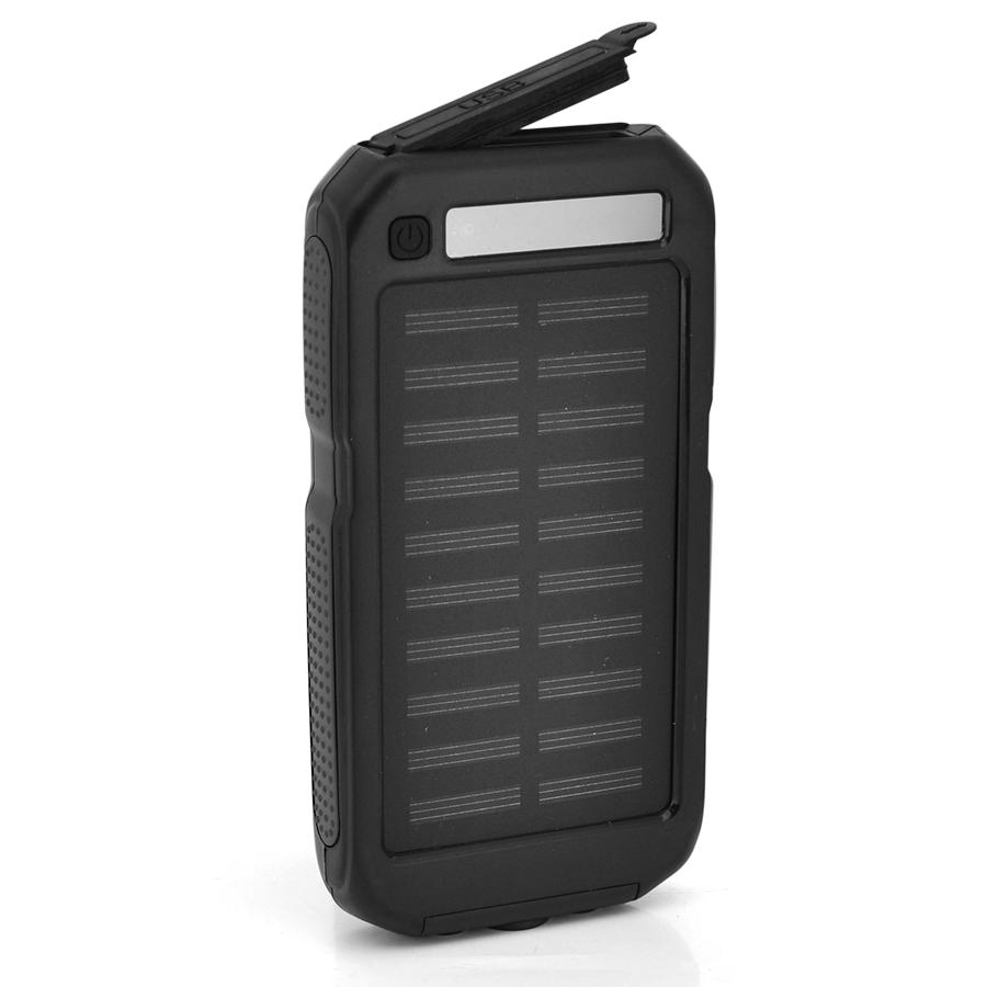 Купить Power bank 12000 mAh Solar, (5V/200mA), 2xUSB, 5V/1A/2.1A, USB  microUSB,  ударо защищеный прорезиненный корпус, Black, Corton BOX
