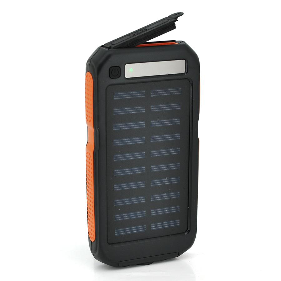 Купить Power bank 12000 mAh Solar, (5V/200mA), 2xUSB, 5V/1A/2.1A, USB  microUSB, ударо защищеный прорезиненный корпус, Black/Orange, Corton BOX