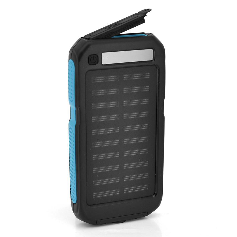 Купить Power bank 12000 mAh Solar, (5V/200mA), 2xUSB, 5V/1A/2,1A, USB  microUSB, ударо защищеный прорезиненный корпус, Black/Blue, Corton BOX