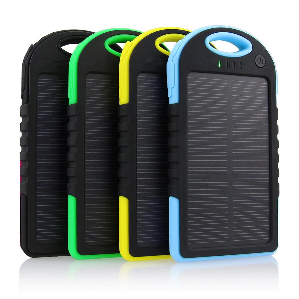 Купить Power bank 5000 mAh Solar, (5V/200mA), 2xUSB, 5V/1A/1A, USB  microUSB, влаго/ударо защищеный прорезиненный корпус, карабин, Black/Blue, Corton BOX