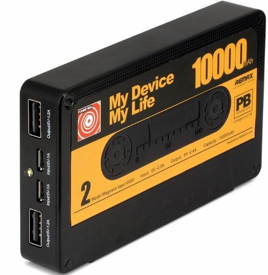 Купить Powerbank (Polymer Battery) Remax Tape, 1xUSB, 5V, 2.1A, 10000mAh, Black, Blister