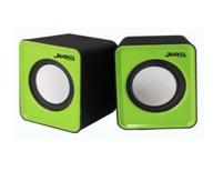 Купить Колонки 2.0 JEDEL JD-S618/T001 USB+3.5mm, 2x3W, 90Hz- 20KHz, с регулятором громкости, Black/Green, BOX