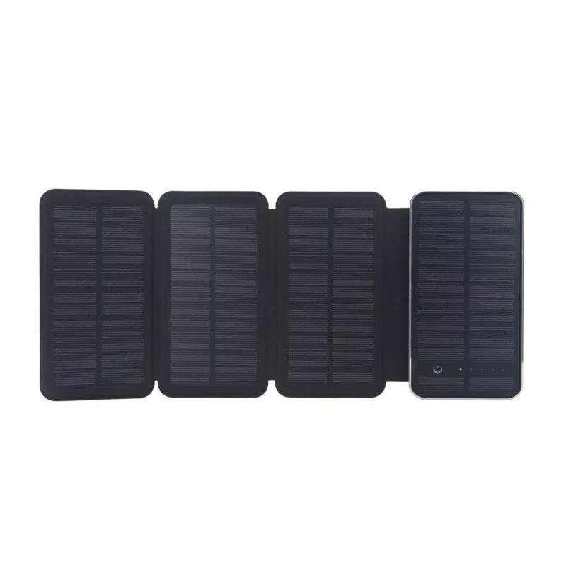 Купить Power bank 10000 mAh Solar, (5V/200mA), 2xUSB, 5V/1A/2,1A, USB  microUSB, ударо защищеный прорезиненный корпус, Black, Corton BOX