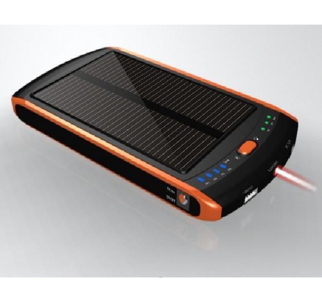 Купить Power bank 12000 mAh Solar, (5V/200mA), 2xUSB, 5V/1A/2,1A, USB  microUSB, ударо защищеный прорезиненный корпус, Black/Green, Corton BOX