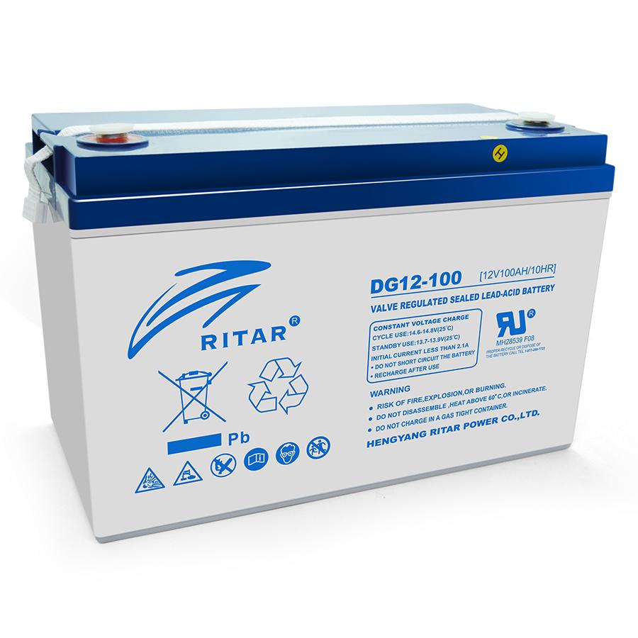 Купить Аккумуляторная батарея GEL RITAR DG12-100, Gray Case, 12V 100.0Ah  ( 328 х 172 х 215 (220) ) Q1