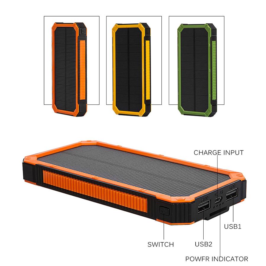 Купить Power bank 8000 mAh Solar, (5V/200mA), 2xUSB, 5V/1A/2,1A, USB  microUSB, ударо защищеный прорезиненный корпус, Green, Corton BOX