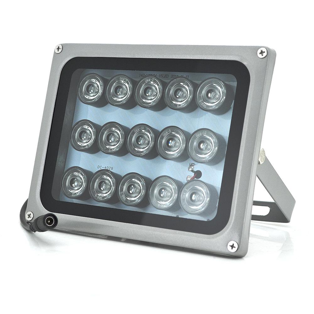 Купить ИК прожектор YOSO 12V 15W, 15LED, IP66, 850Нм, угол обзора 60В°, линза 8мм, дальность до 50м, 180*115*140мм, BOX