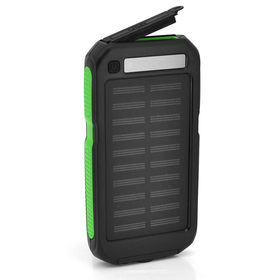 Купить Power bank 12000 mAh Solar, (5V/200mA), 2xUSB, 5V/1A/2.1A, USB  microUSB, ударо защищеный прорезиненный корпус, Black/Red, Corton BOX
