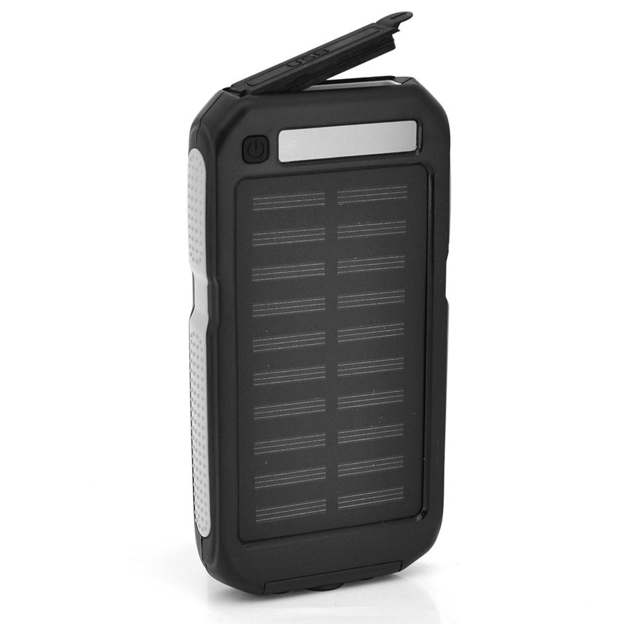 Купить Power bank 12000 mAh Solar, (5V/200mA), 2xUSB, 5V/1A/2.1A, USB  microUSB, ударо защищеный прорезиненный корпус, Black/Yellow, Corton BOX