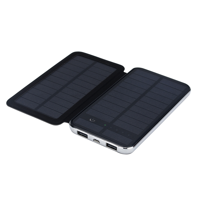 Купить Power bank 10000 mAh Solar, (5V/200mA), 2xUSB, 5V/1A/2,1A, USB  microUSB, ударо защищеный прорезиненный корпус, Black/White, Corton BOX