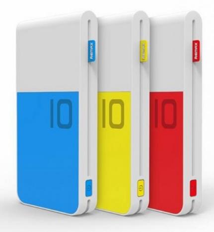 Купить Powerbank (Polymer Battery) Remax Colourful, 1xUSB, 5V, 2.1A, 10000mAh, Yellow, Blister
