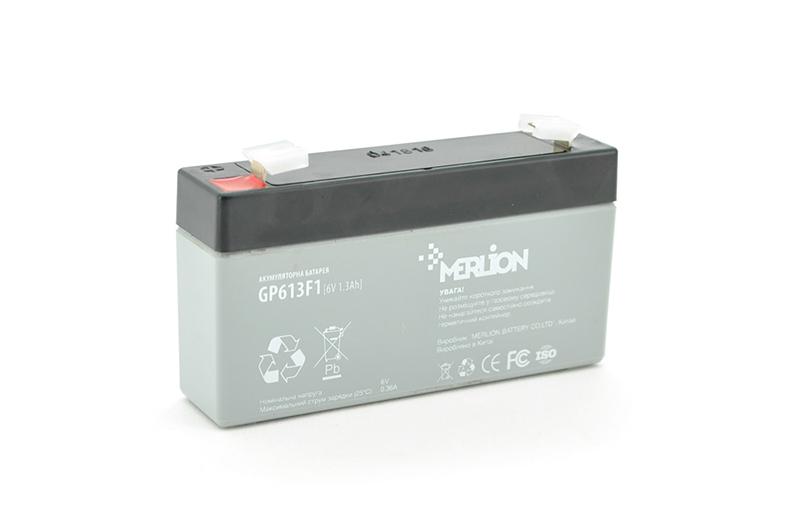 Купить Аккумуляторная батарея MERLION AGM GP613F1 6 V 1,3Ah   ( 95 x 25 x 50 (55) ) Q40