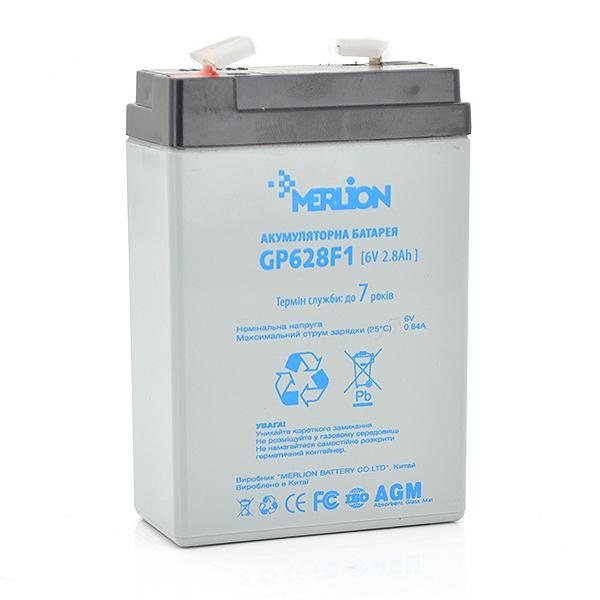 Купить Аккумуляторная батарея MERLION AGM GP628F1 6 V 2,8Ah ( 67 x 35 x 100 (105) ) Q20