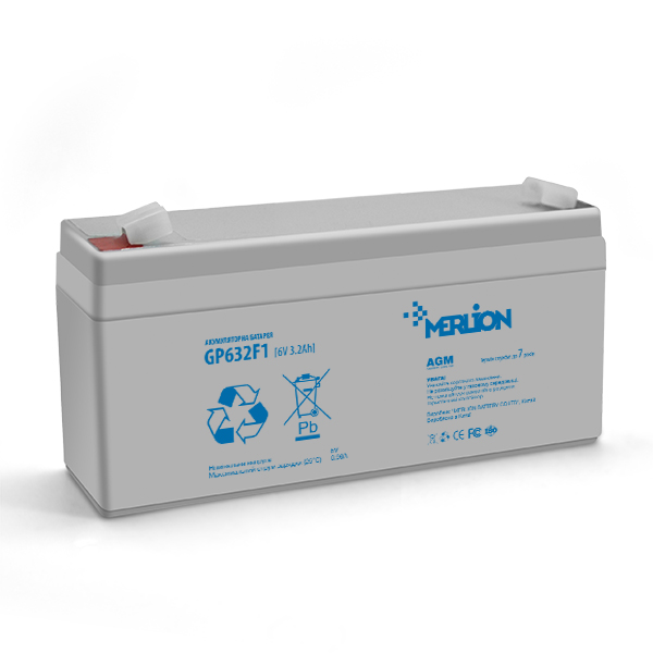 Купить Аккумуляторная батарея MERLION AGM GP632F1 6 V 3,2Ah  ( 67 x 35 x  115 (120 ) ) Q20