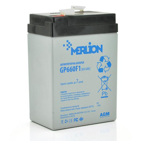 Купить Аккумуляторная батарея MERLION AGM GP660F1 6 V 6Ah  ( 70 x 47 x 100 (105) ) Q20