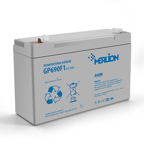 Купить Аккумуляторная батарея MERLION AGM GP690F1 6 V 9Ah  ( 150 x 35 x 95 (100 ) ) Q10