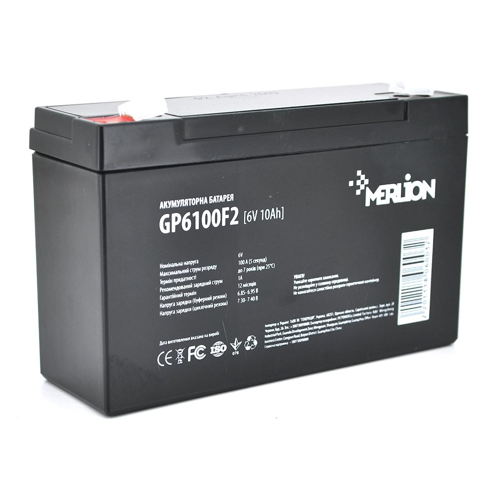 Купить Аккумуляторная батарея MERLION AGM GP610F2 6 V 10Ah  ( 150 x 50 x 95 (100) ) Q10