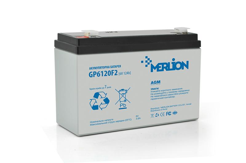 Купить Аккумуляторная батарея MERLION AGM GP612F2 6 V 12Ah  ( 150 x 50 x 95 (100) ) Q10
