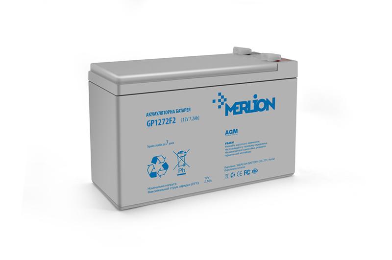 Купить Аккумуляторная батарея MERLION AGM GP1272F2 12 V 7,2 Ah ( 150 x 65 x  95 (100) ) 1,7 кг White Q10