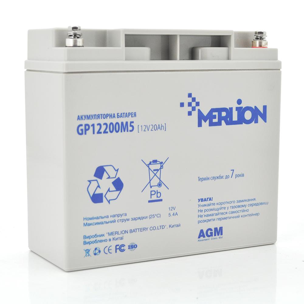 Купить Аккумуляторная батарея MERLION AGM GP1220M5 12 V 20 Ah ( 180 x 78 x 165 (168) ) 4,8 кг Q4