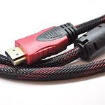Купить Кабель HDMI-HDMI 5.0m, v1.4, OD-7.4mm, 2 фильтра, оплетка, круглый Black \/ RED, коннектор RED \/ Black, (Пакет) Q80