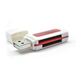 Купить Кардридер универсальный 4в1 MERLION CRD-5RD TF/Micro SD, USB2.0, RED, OEM Q50