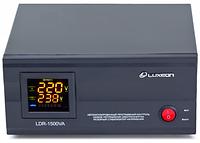 Купить Стабилизатор напряжения релейный LUXEON LDR-1500, 1500VA, 1050ВТ, LCD, 6 ступеней, 105-270V, 220 В± 7%, 1 Shuko, Металл, White