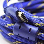 Купить Кабель HDMI-HDMI 5.0m, v1.4, OD-8.0mm, 2 фильтра, оплетка, круглый Blue \/ Gold, коннектор Blue-yellow, (Пакет) Q50