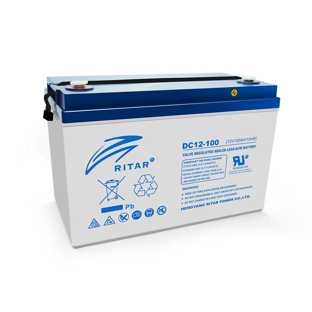 Купить Аккумуляторная батарея AGM RITAR DC12-100, Gray Case, 12V 100Ah ( 328 x 172 x 215 (220), 30,0кг ) Q1