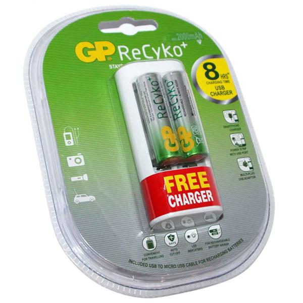 Купить Зарядное устройство универсальное U211 210AAHCBFMC-2UE2, 2AA/2AAA, 2 акк. 2000mAh GP ReCyko в компл., зарядка за 8 часов от USB