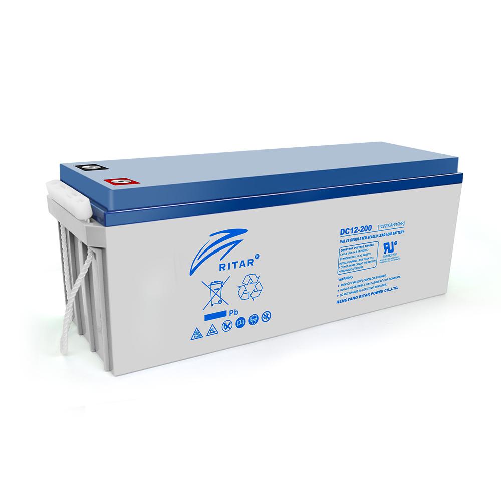 Купить Аккумуляторная батарея AGM RITAR DC12-200, Gray Case, 12V 200Ah  ( 522 х 240 х 219 (224) ) Q1