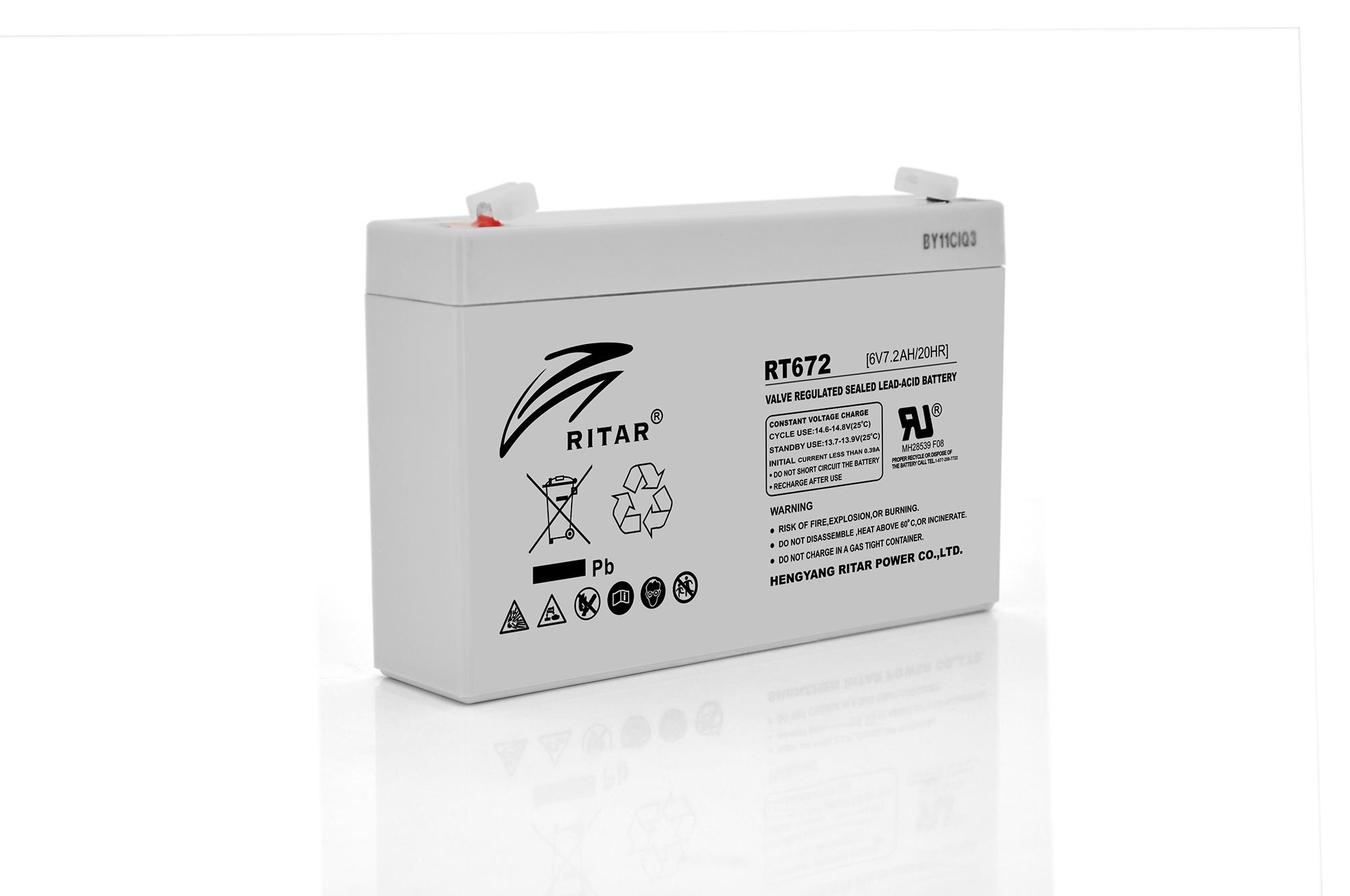 Купить Аккумуляторная батарея AGM RITAR RT672, Gray Case, 6V 7.2Ah  ( 151х34х94 (100) ) Q20