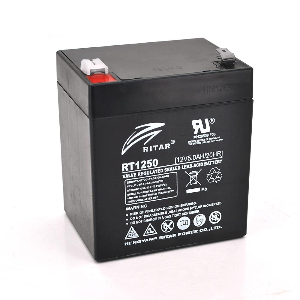 Купить Аккумуляторная батарея AGM RITAR RT1250B, Black Case, 12V 5.0Ah  ( 90 х70 х 101 (107) ) Q10