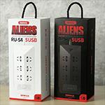 Купить Сетевой фильтр REMAX Alienss с USB портами RU-S4,   универсальных розеток 220V, 5USB 4.2A, корпус - пластик, Black, 1.8m