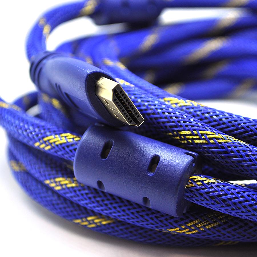 Купить Кабель HDMI-HDMI 10m, v1.4, OD-8.0mm, 2 фильтра, оплетка, круглый Blue \/ Gold, коннектор Blue-yellow, (Пакет) Q50