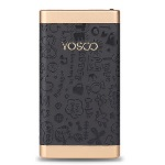 Купить Power bank 10000mAh YOSOO, USB1A+2A, Корпус - кожа узор, 120x60x15, Black, + кабель microUSB, BOX