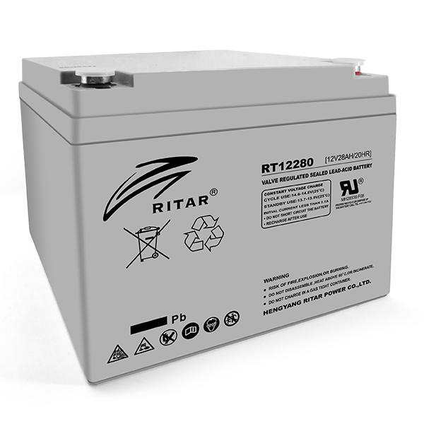 Купить Аккумуляторная батарея AGM RITAR RT12280, Gray Case, 12V 28Ah  ( 166 х178 х125 ) Q1
