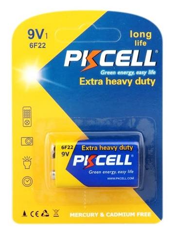 Купить Батарейка солевая PKCELL 9V/6LR61, крона, 1 штука shrink цена за shrink