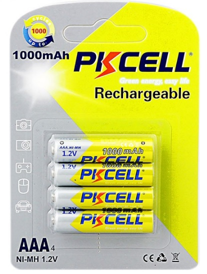 Купить Аккумулятор PKCELL 1.2V  AAA 1000mAh NiMH Rechargeable Battery, 4 штуки в блистере цена за блистер
