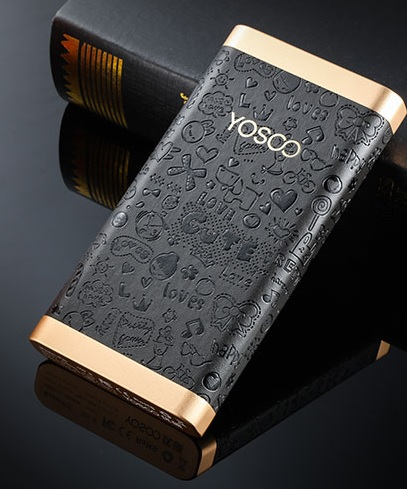 Купить Power bank 20000mAh YOSOO, USB1A/2A/2.4A, microUSB + Type-C, LED, Корпус - кожа узор, 156x81x21, Black, + кабель microUSB, BOX