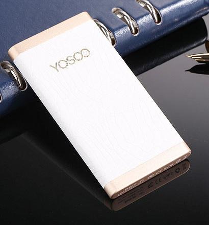 Купить Power bank (polymer) 5000mAh YOSOO, USB1,5A, Корпус - кожа, 118x60x10, 155g, White, + кабель microUSB, BOX