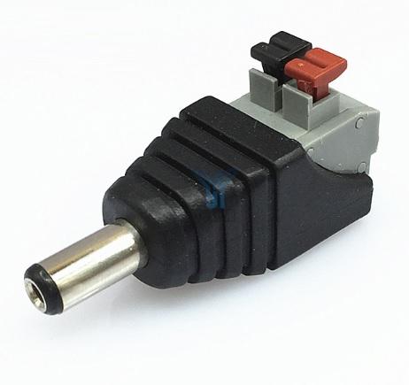 Купить Разъем для подключения питания DC-M (D 5,5x2,1мм) с клеммами под ручной зажим под кабель (Black Plug) (100шт/уп), Q100